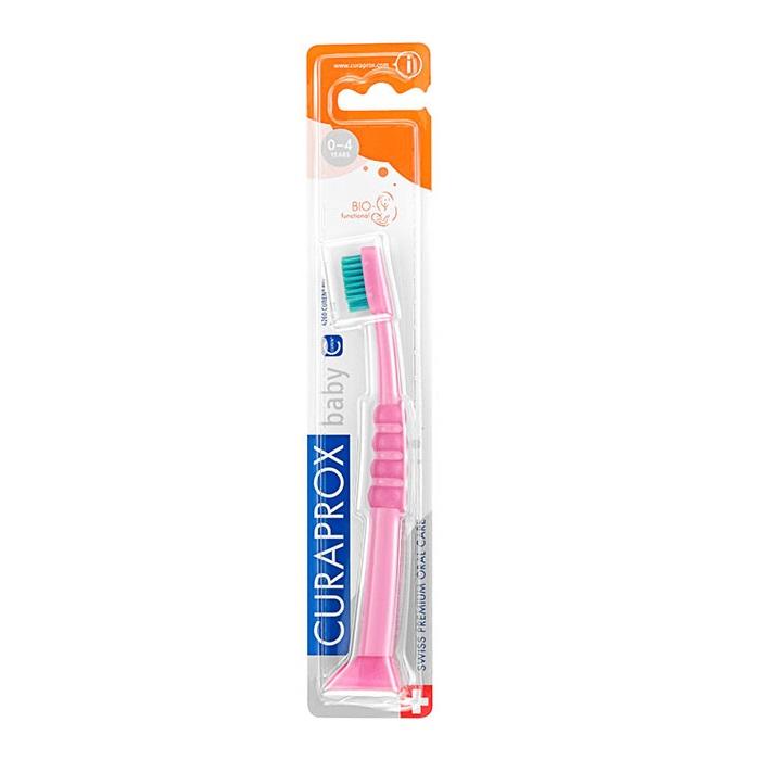 Curaprox Baby 4260 Дитяча зубна щітка від 0 до 4 років, Рожева з зеленою щетиною