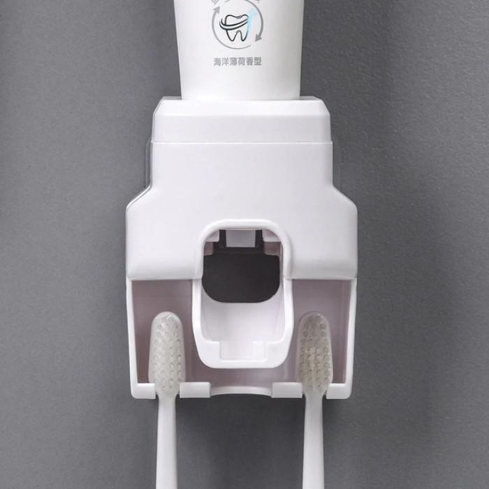 Дозатор, диспенсер для зубної пасти з тримачем для двох зубних щіток, білий