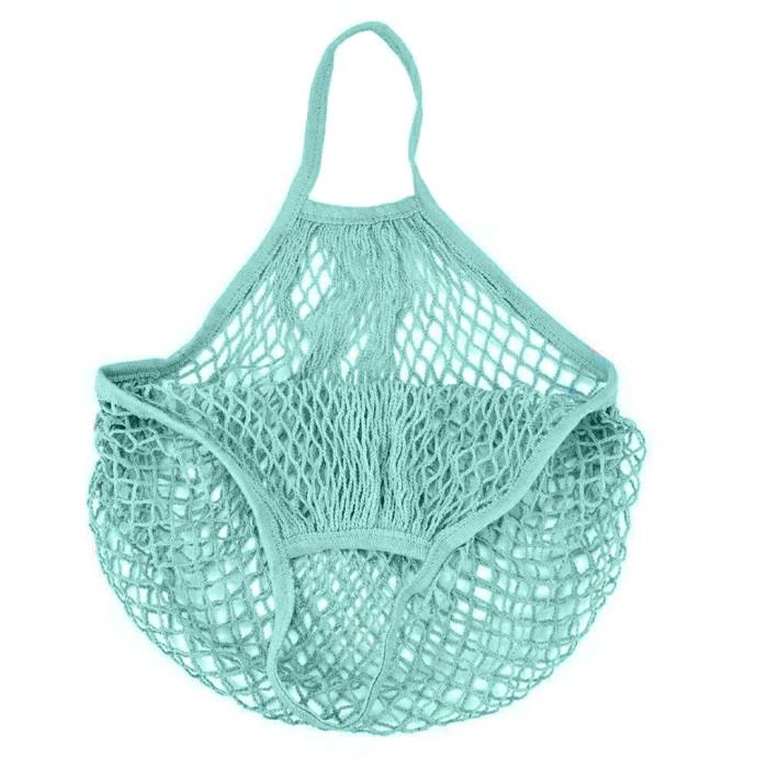 Еко сумка авоська з сітки, лазурно-голуба