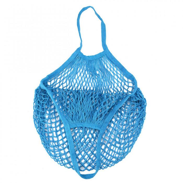 Еко сумка авоська з сітки, синя