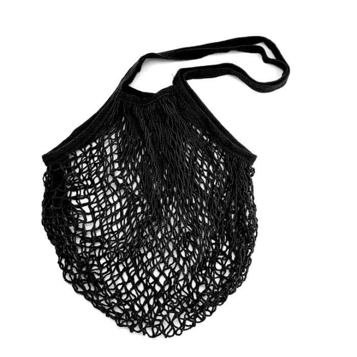 Еко сумка авоська з сітки з довгими ручками, чорна