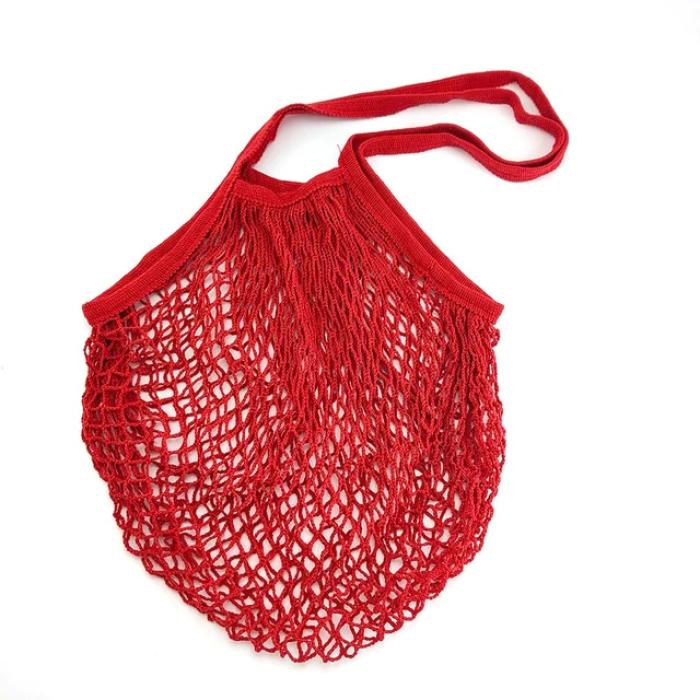 Еко сумка авоська з сітки з довгими ручками, червона