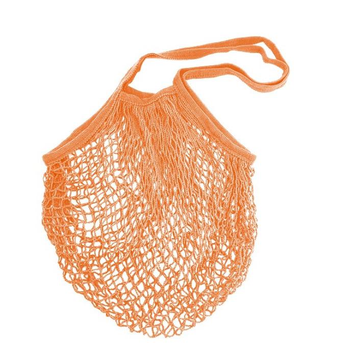 Еко сумка авоська з сітки з довгими ручками, помаранчева