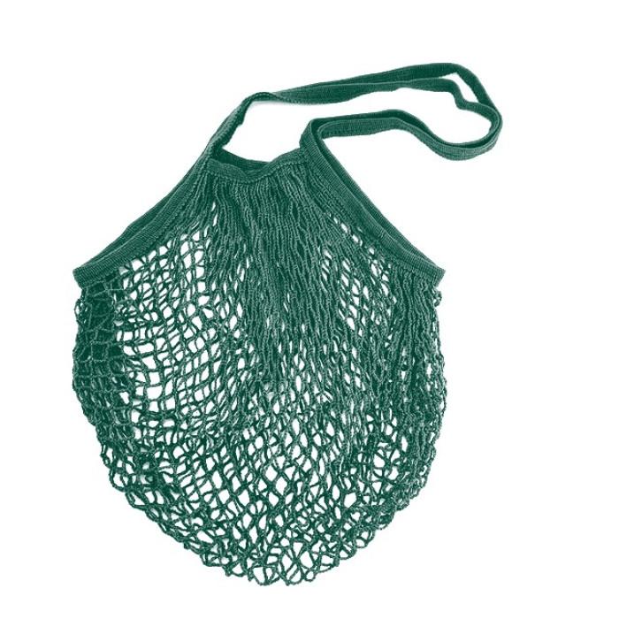 Еко сумка авоська з сітки з довгими ручками, темно-зелена