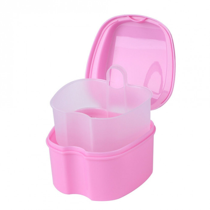 Контейнер для зберігання ортодонтичних конструкцій і знімних зубних протезів, Рожевий