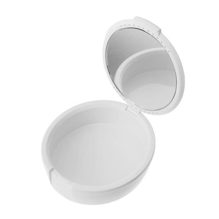 Контейнер для зберігання зубних протезів з дзеркальцем, білий