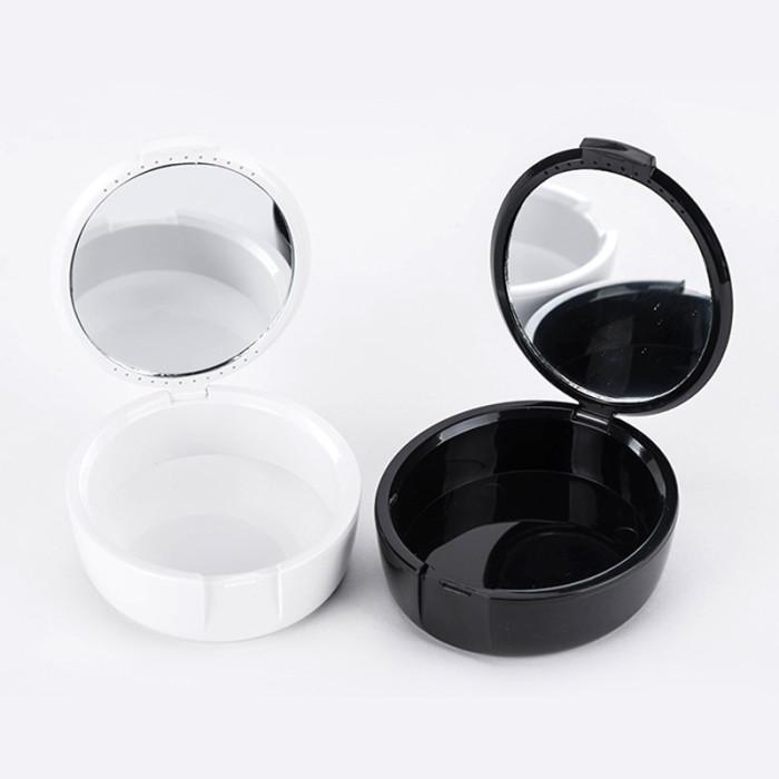 Контейнер для зберігання зубних протезів з дзеркальцем, чорний