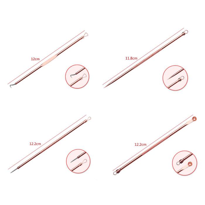 Набір інструментів для видалення прищів, вугрів, акне, золотий, 4 шт
