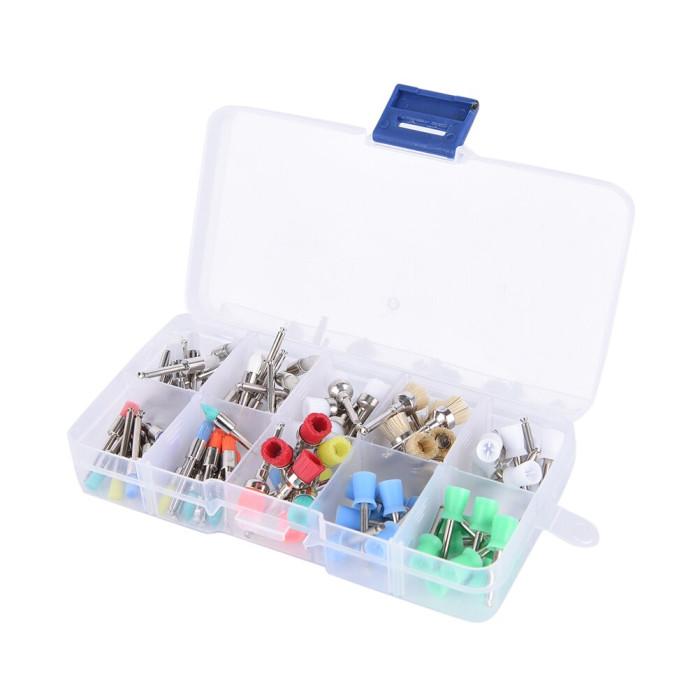 Набір щіток для полірування зубів, нейлонові, кольорові, 100 шт