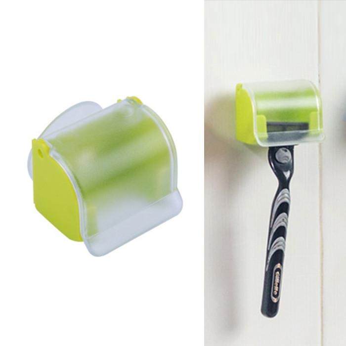 Настінний тримач для бритви з кришкою, зелений