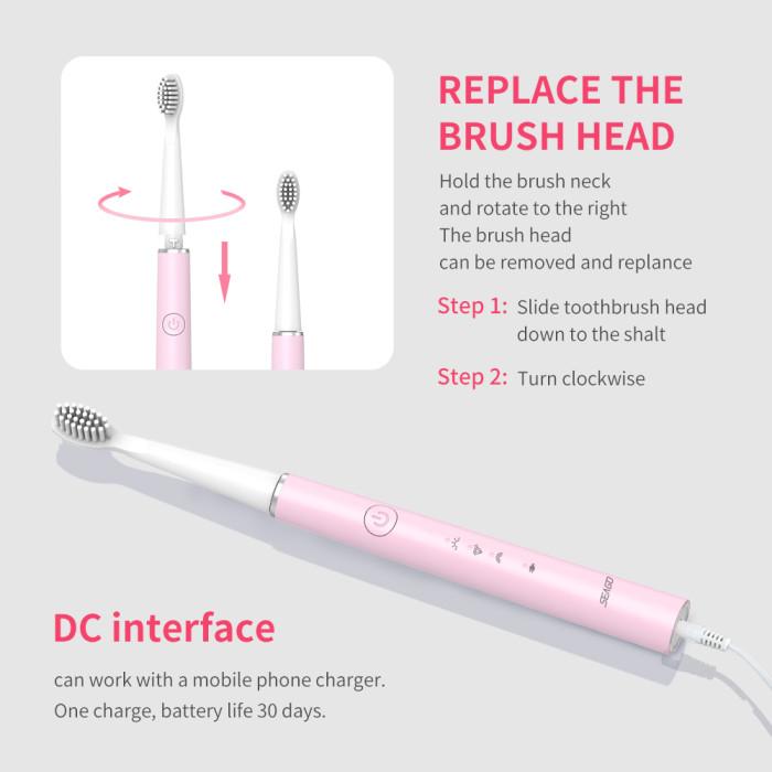 Seago SG-548 Електрична зубна щітка, рожева