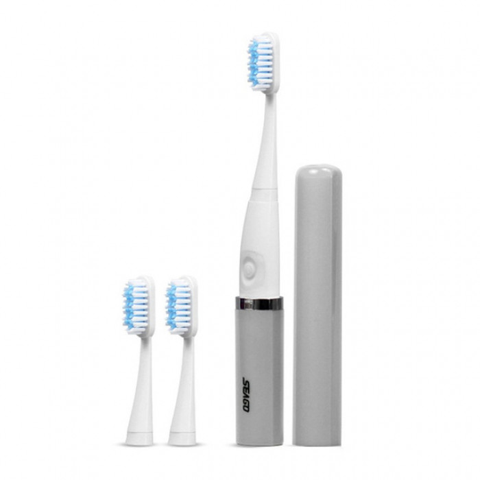 SEAGO SG-632 Портативна ультразвукова зубна щітка, сіра