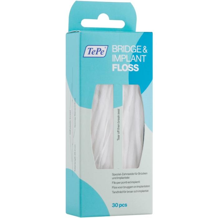 TePe Bridge and Implant Floss спеціальна зубна нитка для чищення імплантантів 30шт