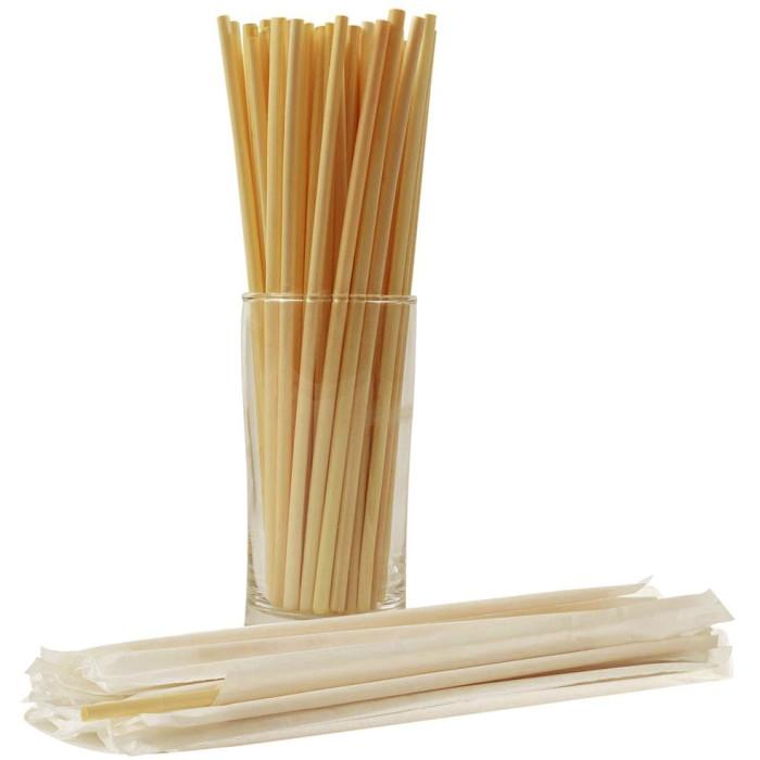 Трубочки для напоїв з соломи в індивідуальній упаковці, довгі, 250 шт